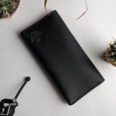 Кожаное мужское портмоне Purse Classic black leather