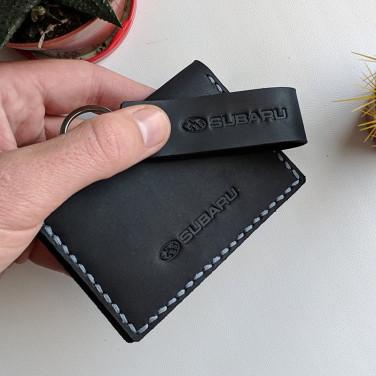 Шкіряна обкладинка на водійські права Subaru Black leather