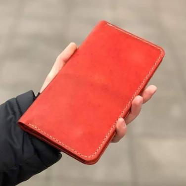 Кожаное женское портмоне Purse Coral red leather