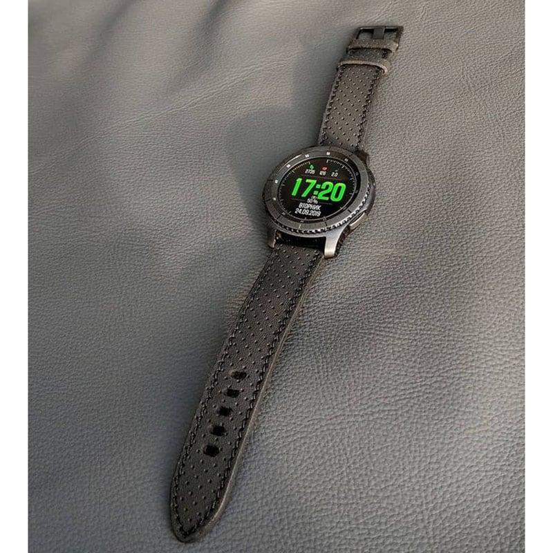 Мужской кожаный ремешок для часов Perforated Pattern Gray leather
