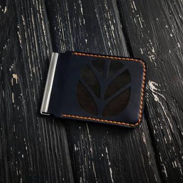 Шкіряний затиск для купюр Wallet Сreator black leather