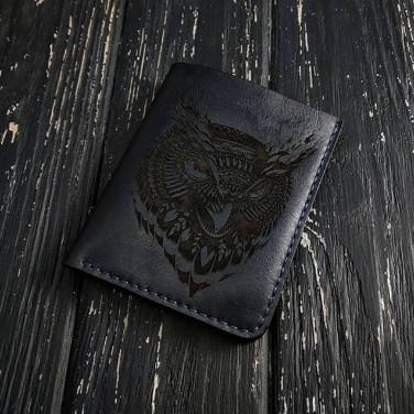 Кожаное портмоне Wallet Owl black leather