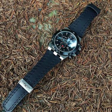 Чоловічий шкіряний ремінець для годинника Double Seam black leather