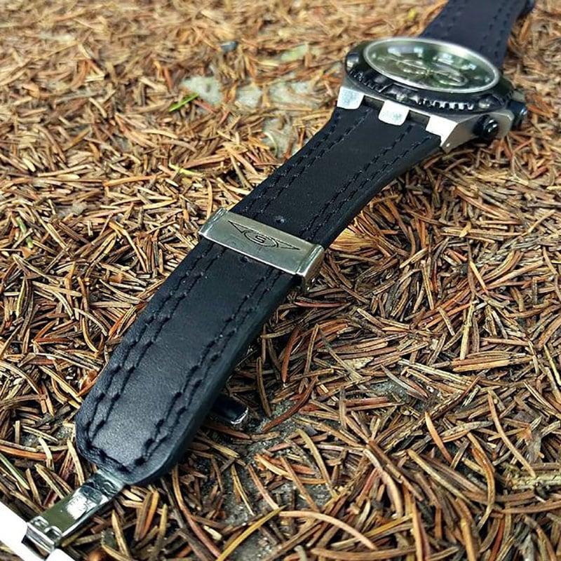 Мужской кожаный ремешок для часов Double Seam black leather