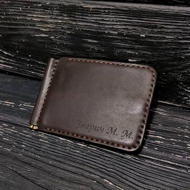 Зажим для купюр кожаный Wallet Personal Brown Leather