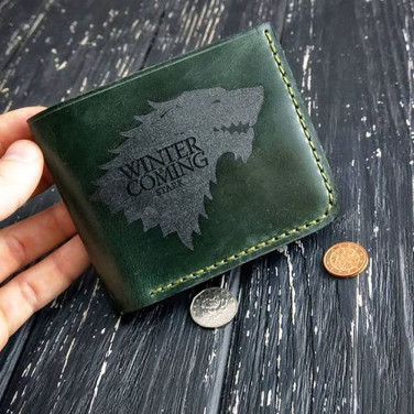 Шкіряний гаманець Winter Is Coming green leather