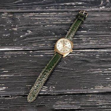 Жіночий шкіряний ремінець для годинника Slava Green Leather