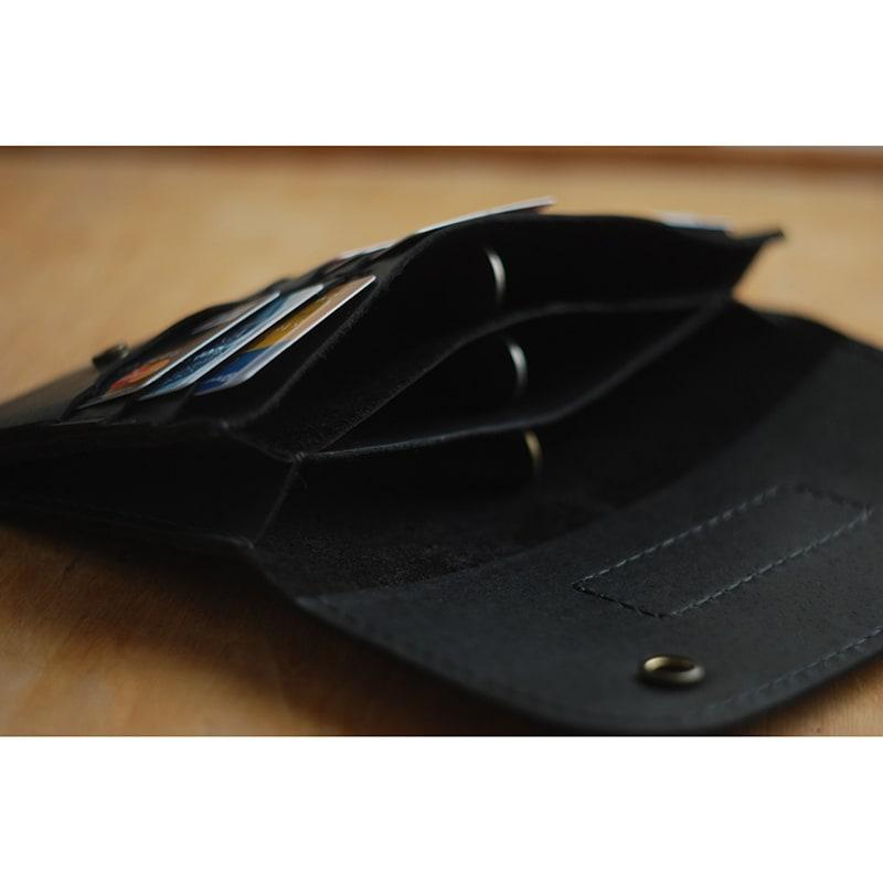 Кожаный кошелек женский ручной работы Clutch Black Leather