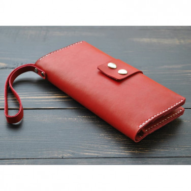 Кошелек женский Clutch Burgundy red leather