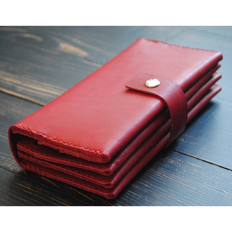 Кошелек кожаный женский Clutch Sardius red leather