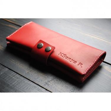 Кошелек кожаный женский Clutch Cloral red leather