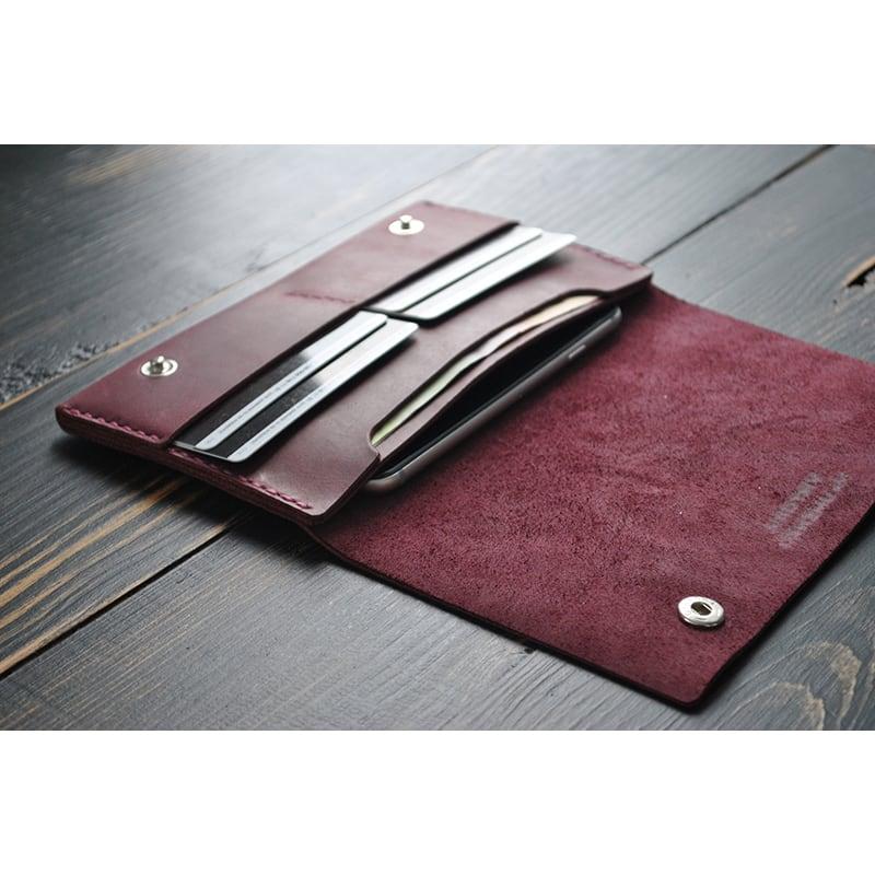 Кошелек кожаный женский Purse Burgundy vinous leather