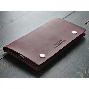 Шкіряний жіночий гаманець Purse Burgundy vinous leather