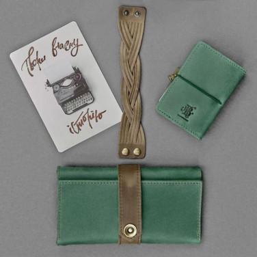 Гаманець жіночий набір 3 в 1 Purse Green Leather