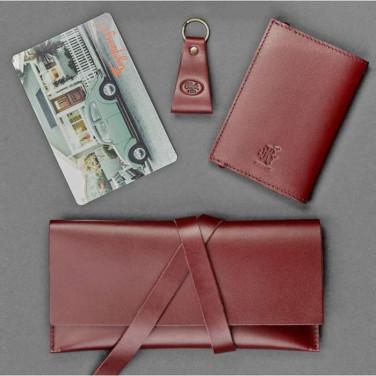 Женский кожаный кошелек в наборе 3 в 1 Purse Brown Leather