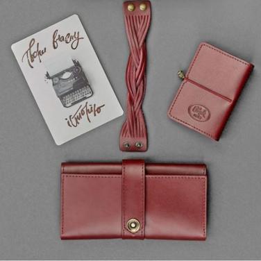 Гаманець жіночий набір 3 в 1 Purse Vinous Leather