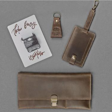 Гаманець жіночий набір 3 в 1 Travel Case Brown Leather