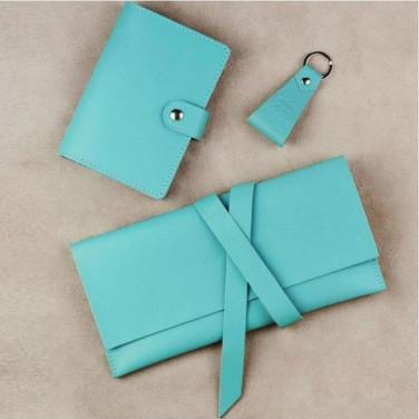 Жіночий шкіряний гаманець в наборі 3 в 1 Purse Green Leather