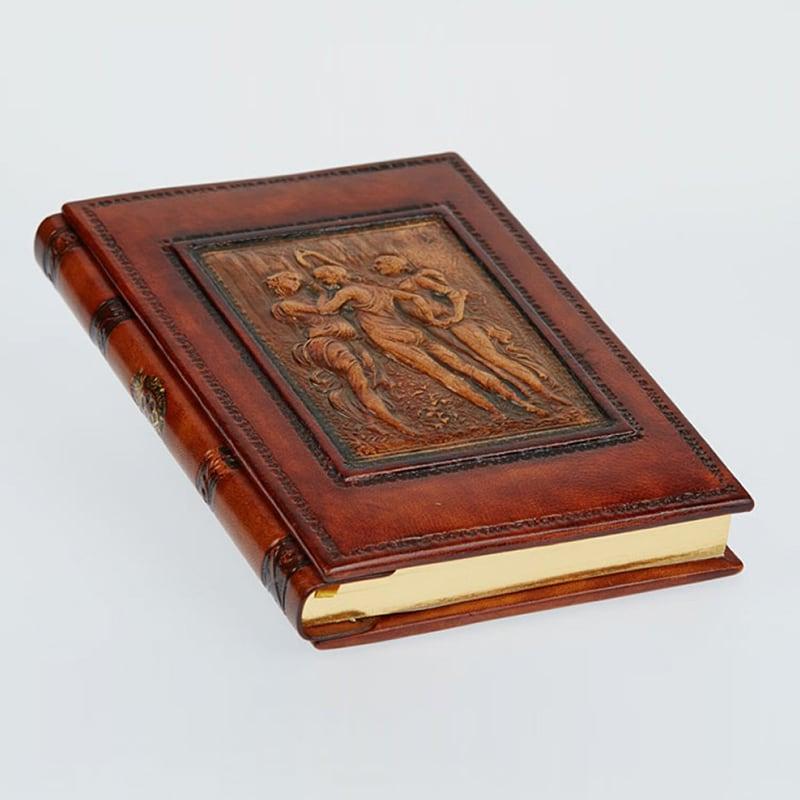 Шкіряний блокнот ручної роботи жіночий Three Граціє brown leather