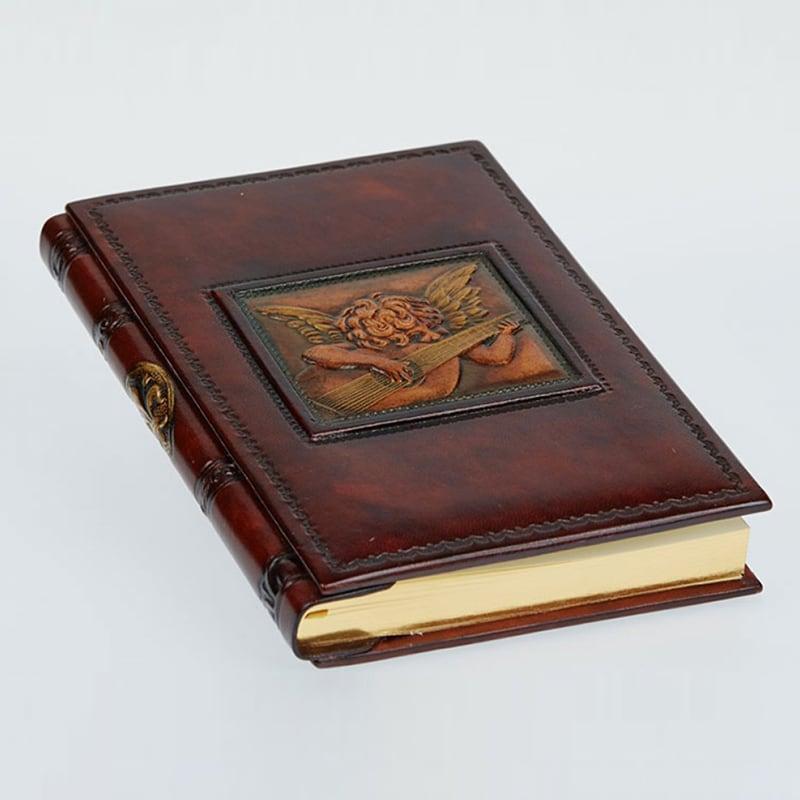 Щоденник у шкіряній обкладинці Angel with Лютні brown leather