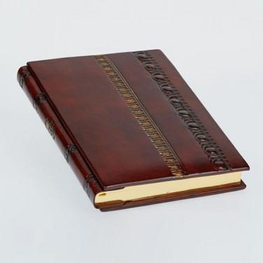 Кожаный блокнот авторский женский Baroque Bronze brown leather