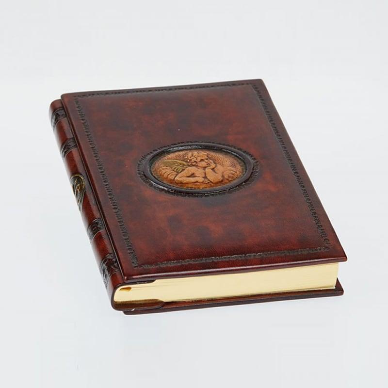 Шкіряний блокнот дизайнерський жіночий Pensive Angel brown leather