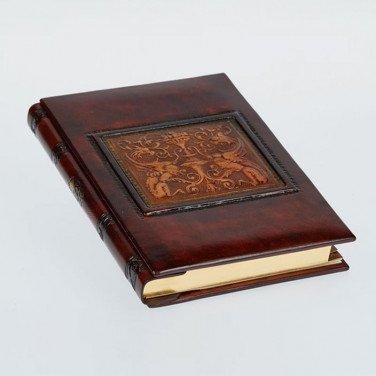 Шкіряний блокнот ручної роботи жіночий Florentine Dragon brown leather