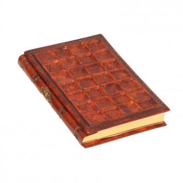 Кожаный блокнот ручной работы Sienna Mosaic brown leather