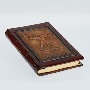 Адресна книга в шкіряній палітурці Vitruvian Man brown leather