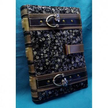 Кожаный блокнот дизайнерский женский Серебряный Мильфлер black leather