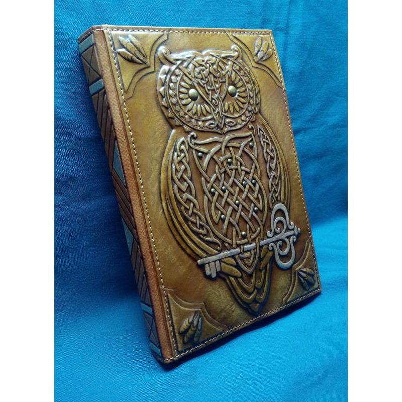 Кожаный блокнот handmade женский Кельтская Сова brown leather