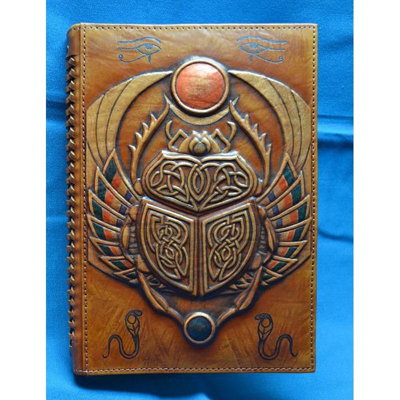 Блокнот в кожаном переплете Скарабей brown leather
