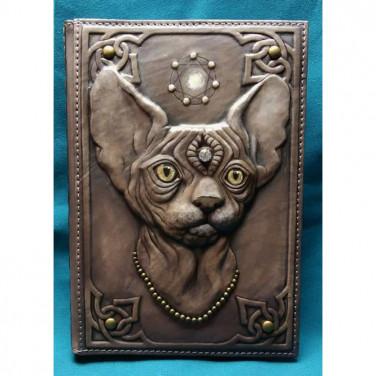 Кожаный блокнот ручной работы женский Кошка-Сфинск brown leather