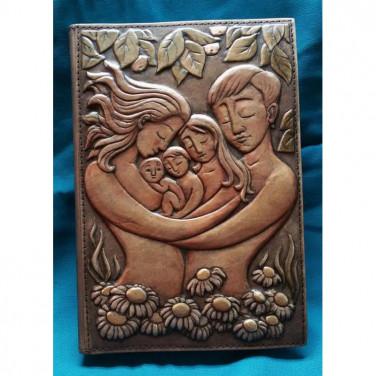 Блокнот в шкіряній палітурці жіночий Сім'я brown leather