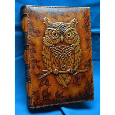 Шкіряний блокнот ручної роботи жіночий Ельфійська Сова brown leather