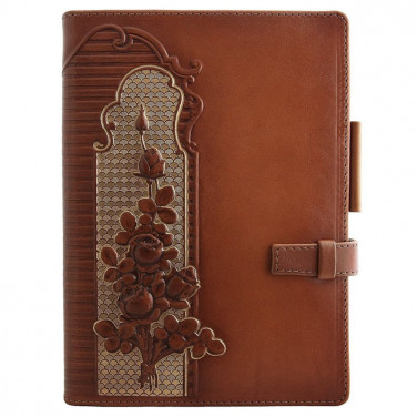 Кожаный блокнот женский Garden Rose brown leather