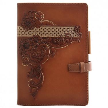 Блокнот в шкіряній обкладинці жіночий Flora brown leather