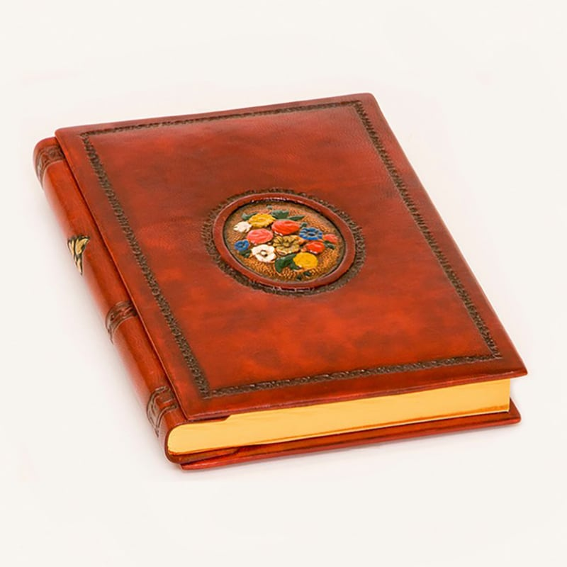 Щоденник в шкіряній палітурці Квіткова Віньєтка brown leather