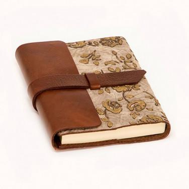Блокнот в кожаной обложке Золотая Парча brown leather