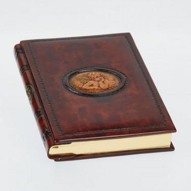 Блокнот в кожаной обложке Angel Raphael brown leather