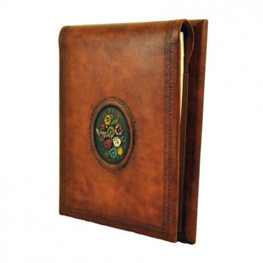 Ежедневник в кожаной обложке Flowers brown leather