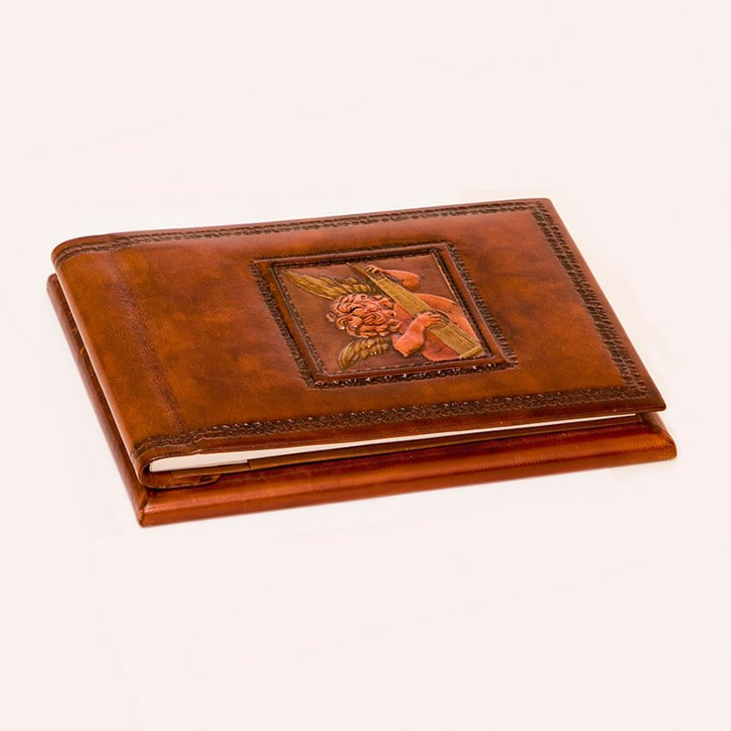 Кожаный блокнот Angel Rosso brown leather