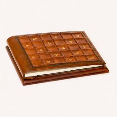 Блокнот в кожаной обложке Siena Mosaic brown leather