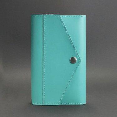 Кожаный блокнот ручной работы женский Notebook Turquoise Leather