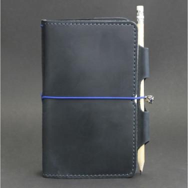 Щоденник у шкіряній обкладинці SoftBook Dark Blue Leather