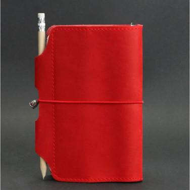 Шкіряний блокнот ручної роботи жіночий SoftBook Red Leather