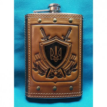 Фляга для алкоголю подарункова Герб України brown leather
