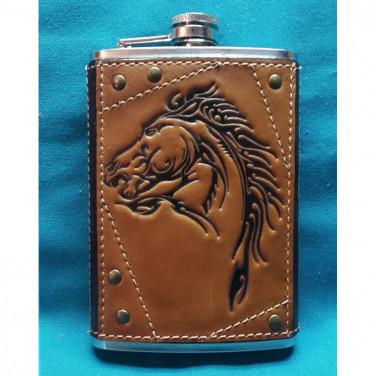 Фляга подарункова з нержавійки Мустанг brown leather