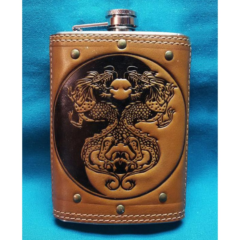 Фляга армейская из нержавейки Ин-Янь brown leather
