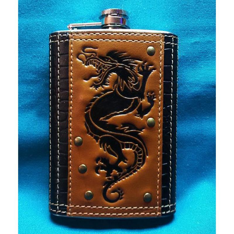 Фляга для алкоголю Пернатий змій brown leather